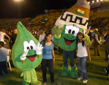 Dancing coca leaves at closing rally of the